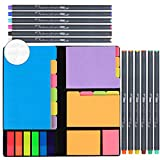JARLINK 590-in-1 Divider Sticky Notes Set with 12 Colors Journal Planner Pens, Super Sticky Page Markers Prioritize, 60 Ruled, 40 Dotted and Blank, 60 Orange and Pink, 150 Index Tabs and 168 Labels