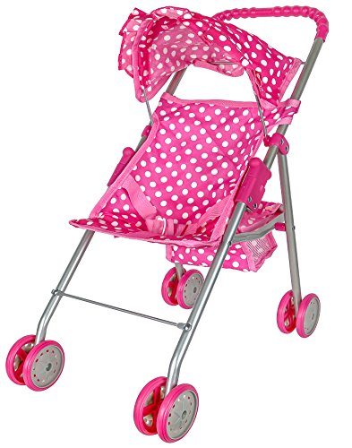 Precious Toys Doll Stroller with Hood, Polka Dots, Foldable, Pink/White