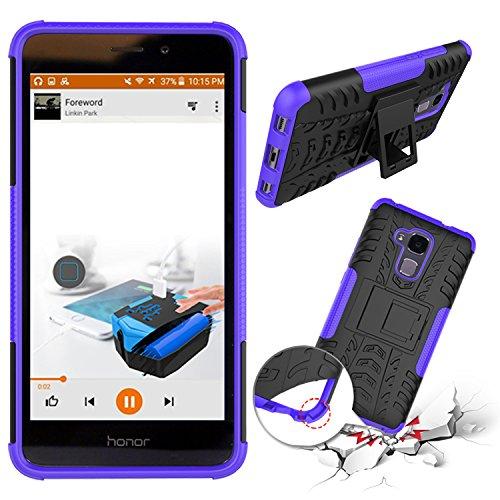 XINYUNEW Funda Huawei Honor 5C, 360 Grados Protective+Pantalla de Vidrio Templado Caso Carcasa Case Cover Skin móviles telefonía Carcasas Fundas para Huawei Honor 5C-Púrpura