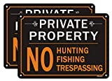 2 Pack Private Property Signs, No Hunting No Fishing No Trespassing Signs Metal Reflective 10' x 7' Rust Free Aluminum, UV Protected Waterproof and Durable, Easy Mounting, Outdoor or Indoor Use