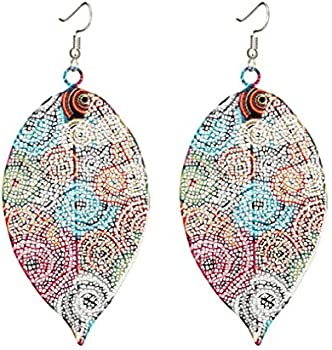 Myhouse Vintage Ethnic Hollow Leaf Print Earrings