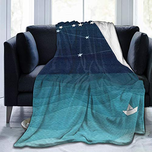 Garland of Stars, Teal Ocean Super Soft Air Conditioning Blanket Sofa Blanket,Suitable for Bed Sofa Living Room