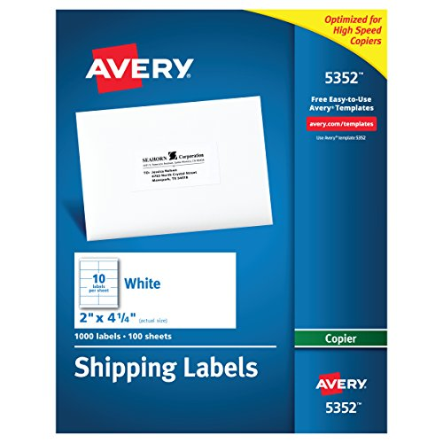 Avery Address Labels for Copiers, 2 x 4-1/4, Box of 1,000 (5352),White