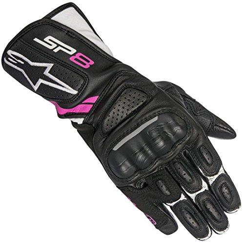 Alpinestars 1694380301 Motorrad Handschuhe, Schwarz/Weiss/Fuchsia, XS