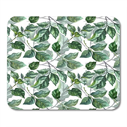 Alfombrillas de ratón Watercolor Rose Foliage Pattern Green Leaves on Mint Emerald Azure Dark Roses Brunches Tender Summer Mouse Pad 9.5
