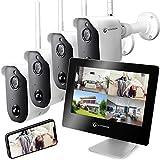 LUVISION Akku Überwachungskamera Full HD und Touchscreen Monitor Funk kabellos mit Bewegungserkennung Gegensprechanlage Nachtsicht App Solar + Flutlicht kompatibel [Set 4 x Kamera 1 x Monitor]