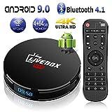 Android TV Box 9.0【4G+64G】 Boitier Android TV de Bluetooth 4.1 L1 Max RK3318 Quad-Core 64bit Cortex-A53 USB 3.0 LAN100M Dual...