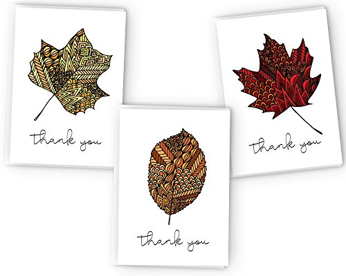 Autumn Leaves Zentangle Fall Thank You Cards - 24 Cards & Envelopes