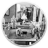 Impresionantes pegatinas de vinilo (juego de 2) 25 cm bw – reparación de computadora placa madre hombres divertidos calcomanías para portátiles, tabletas, equipaje, reserva de chatarras, neveras, regalo fresco #43949