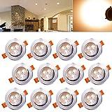 Hengda 12 x 3W Blanco cálido ALU-Matt LED Luces de Techo empotradas SMD Ahorro de energía Luces de Techo proyectores empotrados Set 230V lámparas de Mesa Bore 70 mm de Alta Potencia IP44