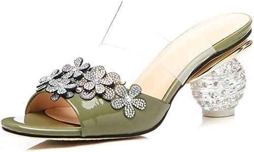 PINGXIANNV Femmes Pantoufles été Les Les dames Mules en Cuir à Talons Hauts Talons De Cristal Diapositives Diamant Fleurs Chaussures Chaussures