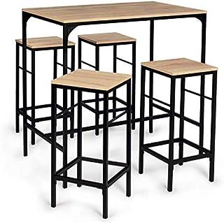 IDMarket - Table Haute Detroit et 4 tabourets Design Industriel