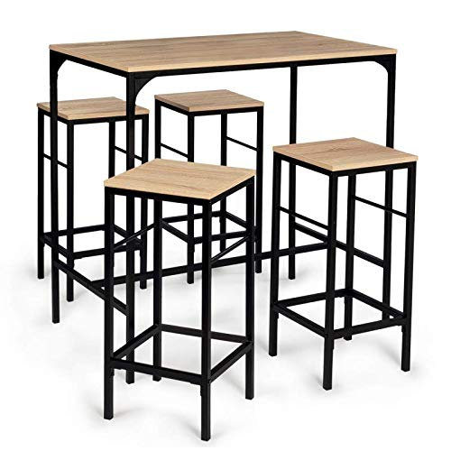 IDMarket - Table Haute Detroit et 4 tabourets Design Industriel