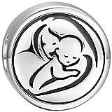 SOUFEEL Charm Plata de Ley 925 Abalorios Pulsera Dibujo Madre y Hijo Beads Dijes en Forma Redondo Compatible con Pulsera o Collar Similar de Europeas Rlegalo para el Día Madre