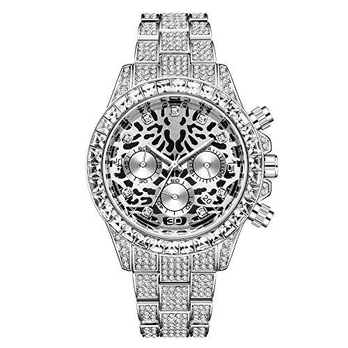 LuBHnna Reloj de Cuarzo Helado para Hombres Plata Oro Colores Diamantes simulados Calendario Cronógrafo Reloj Pulsera Reloj Leopardo para Hombres y Mujeres