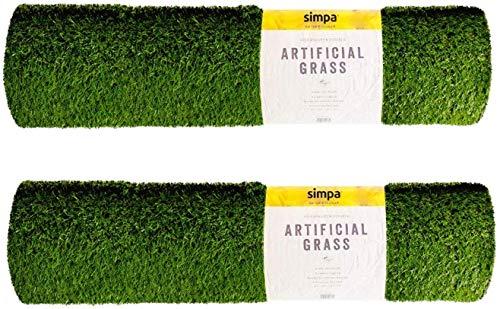 simpahome 2 x Quality Non Fade Artificial Grass Pile Roll - 2m x 1m / 6.6ft...