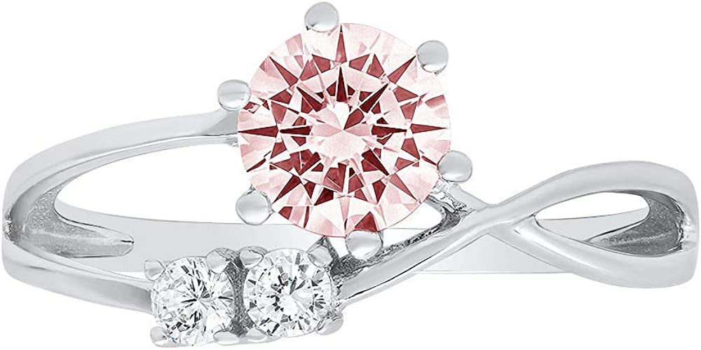 0.85 ct Round Cut 3 stone love Solitaire Genuine Flawless Pink Simulated Diamond Gemstone Engagement Promise Statement Anniversary Bridal Wedding Accent Ring Solid 18K White Gold