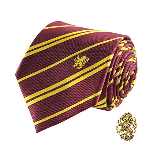 Cinereplicas - Harry Potter - Cravatta con Spilla - Edizione Deluxe - Licenza Ufficiale - Casa Grifondoro - Taglia Unica – 100 % Microfibra – Fornita con 1 Scatola Regalo - Rosso e Giallo