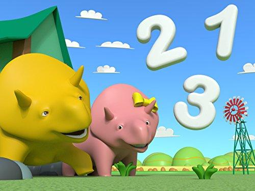 Lerne Zahlen mit Dino dem Dinosaurier : Baue einen Turm aus Würfeln