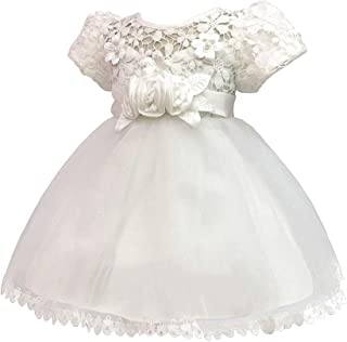 KINDOYO Tulle Wedding Ball Gown Baby Girls - Newborn Infant Gifts Short Sleeve Baptism Dresses Princess Photo Shoot Dress, Beige, 24M