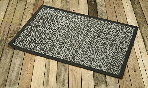 VLiving Tapis en coton, coupé à la main, motif géométrique architectural, couleur grise, décoration de chambre artisanale pour salon, chambre à coucher, extérieur 60 x 90 cm