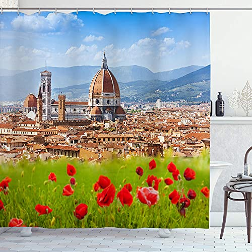 192 Polyester Fabric Shower Curtain,Florence Duomo and Giotto'S Campanile,with 12 Plastic Hooks Decorative Waterproof Bath Curtains 72x72 inches