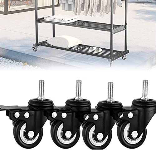 DDCHH Castors Universal Wheels Furniture Wheels Casters for Cart, Heavy Duty Swivel Stem Caster Wheels, Load Bearing 800 Lbs Anti-wear Smooth Casters, Black,WithBrake-2.5Inch