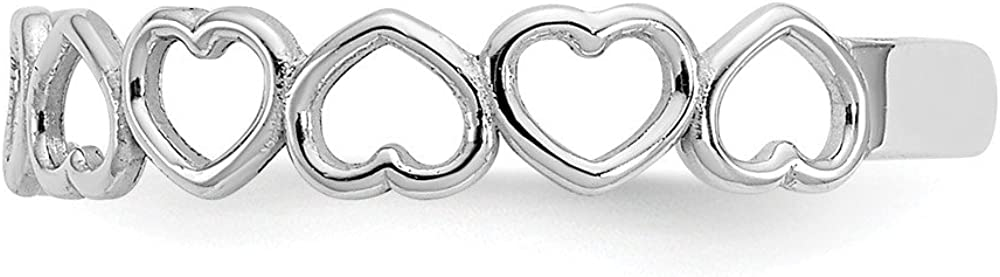 Jewels By Lux 14k White Gold Polished Cut Out Hearts Toe Ring