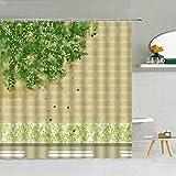 None brand GrüNe Pflanze Blume MarienkäFer-Vier-Blatt-Klee-Duschvorhang-Polyester-Gewebe Hohe QualitäT Mit Haken Badewanne-Dekor 3D Gedruckt-W150xH180cm