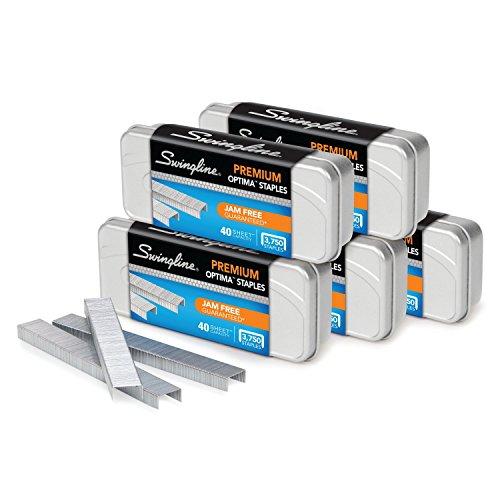 "Swingline Staples, Optima, Premium, 1/4"" Length, Jam Free, 210 Per Strip, 3,750/Box, 5 Pack (S7035565)"