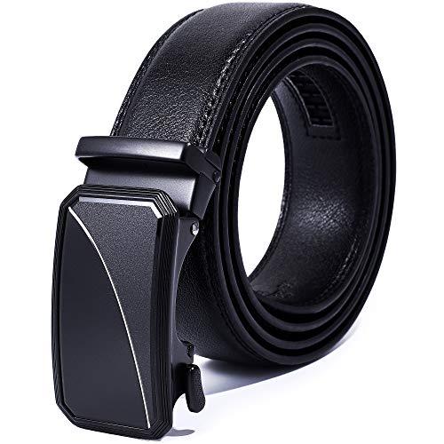 "Auto Lock Ratchet Men's Leather Belt | Elegant Dressing Belt Buckle | Cut to Fit | No-Pin Buckle (Black Goat Buckle Eclipse, Up to Waist 44"")"