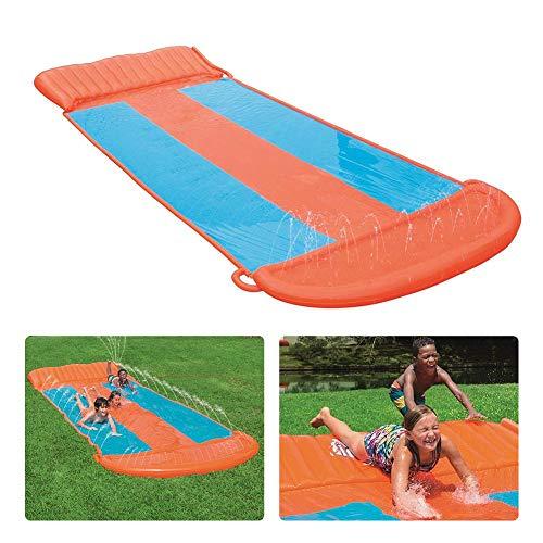 Great Price! N/M Three-Person Water Racing Slide, 5.49m Long Slide Speed Blast Racing Kids Children ...