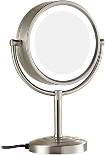 Makeup/Vanity Mirror with LED Light, 7X Magnifying Two-Sided Cosmetic Mirror 360° Swivel Bathroom Mirror Shaving in Bedroom or Bathroom Powered by Plug,Metal Color