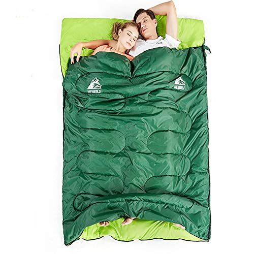 Hewolf Double Sleeping Bag - Waterproof Camping Extra Wide 2 Person Sleeping Bags for Travel Indoor Outdoor with Compression Sack (Double Size Blue, 50-59F/10-15℃(2.4kg))