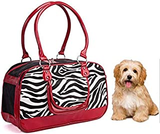 Pet Carrier Bag Dog Cat Carrier Tote Handbag Windproof Quilted Designer Inspired Faux Patent Leather for Outdoor Travel Walking Car