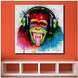 Unbekannt Pop Art DJ AFFE Ölgemälde Wandkunst Bild Malerei Gedruckt Auf Leinwand Wohnkultur Abstrakter Druck Painting-50x50cm Kein Rahmen