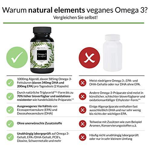 Omega 3 vegan - Premium: Mit EPA und DHA aus Algenöl (in Triglycerid-Form) - Laborgeprüft, nachhaltig und von Natur aus schadstoffarm - 90 Kapseln - 6