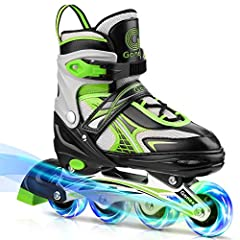 Adjustable Inline Skates: One pair of boots can be adjusted to different sizes as kid's feet growing to ensure years of fun. 3 sizes (S/M/L ) are available for your choice, please check our size chart and choose the proper size for your kid. 8 Flashi...