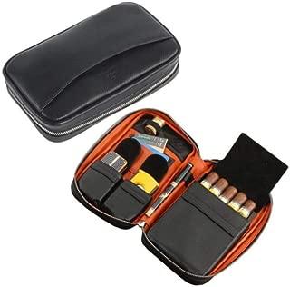 HUIJINCHAOSHI Cigarette Case, Leather Cigarette Case, Portable Cigar Box, Multi-function Cigarette Case Holder, Zipper Black, 5 Pieces. Fashion
