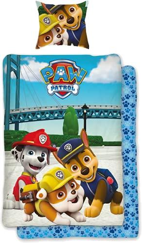 SkyBrands Paw Patrol Bettwäsche 135x200 80x80 Kissen-Bezug [Wendemotiv] Baumwolle | Paw Patrol Kinderbettwäsche Jungen Deutsche Größe mit ÖKO-TEX Siegel