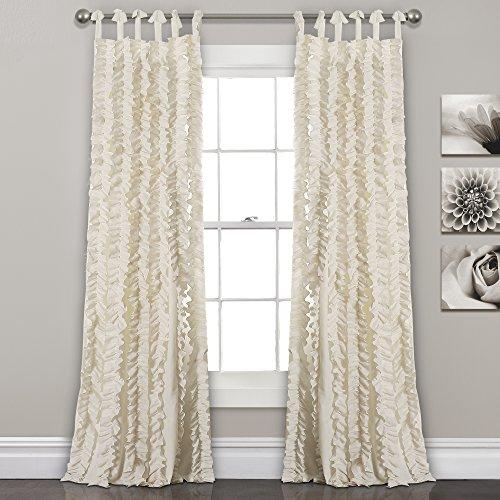 "Lush Decor, Ivory Sophia Ruffle Curtain | Textured Window Panel Set for Living, Dining Room, Bedroom (Pair), 84"" x 40, 84"" x 40"""
