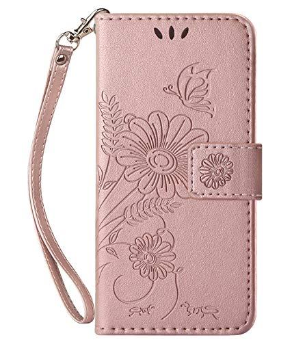 kazineer Hülle für Honor 8X, Leder Tasche Handyhülle für Huawei Honor 8X Schutzhülle Blumenmuster Etui Hülle (Rose Gold)