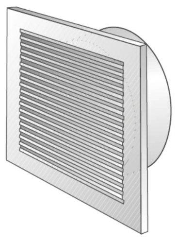 L-G100 Lüftungsgitter DN100 mit 60301 Anschlußstutzen ws