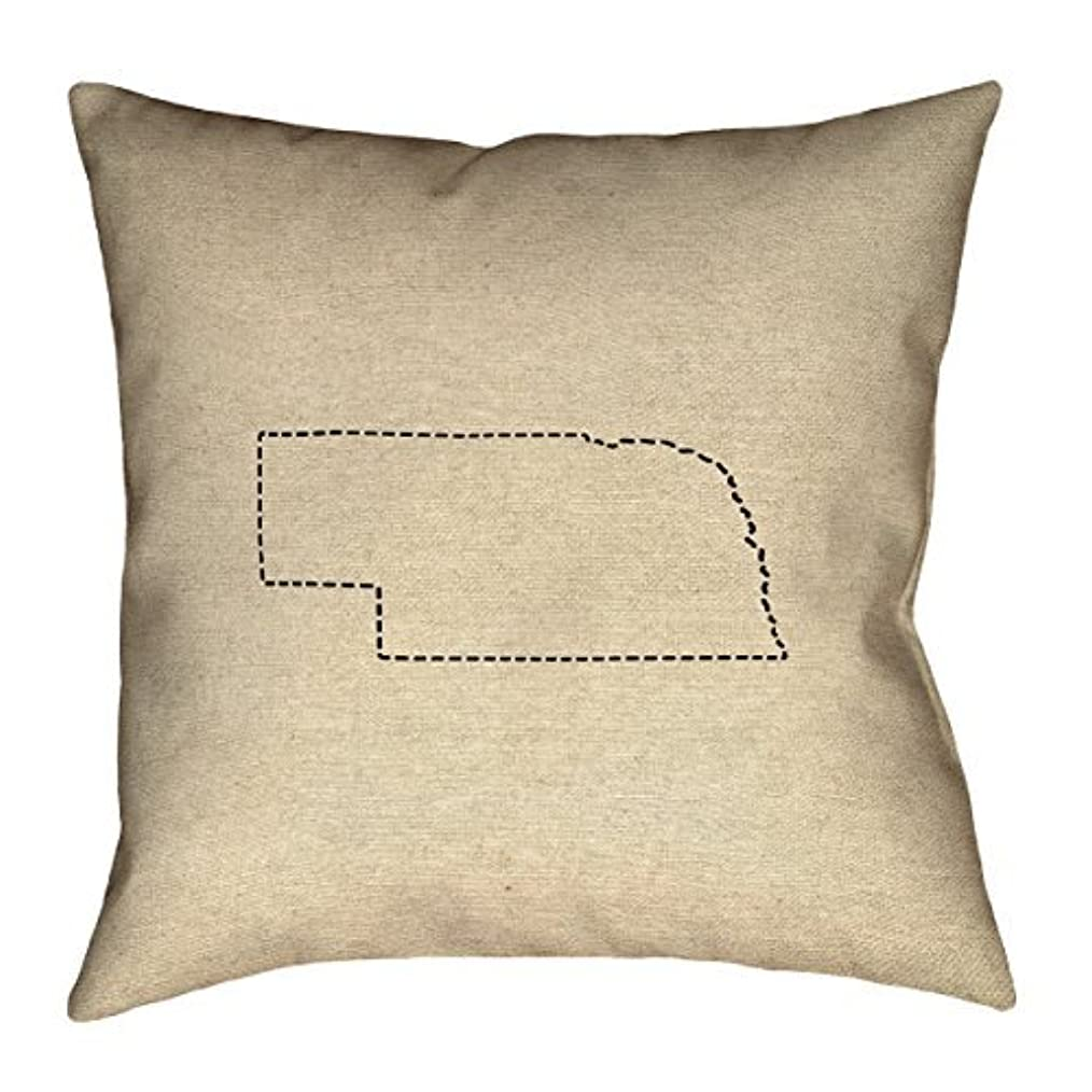 推進熱帯のペースArtVerse Katelyn Smith Nebraska Outline 20 x 20 Pillow-Spun Polyester [並行輸入品]