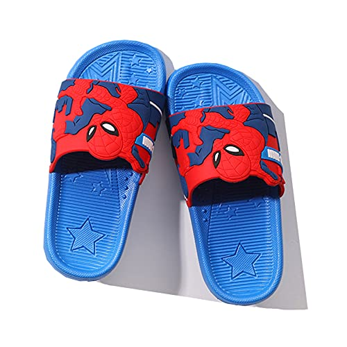 MYYLY Zapatillas Playa para Niños Chanclas Piscina Verano Patrón Spiderman Plantilla Jardín Junto Piscina Zapatos Al Aire Libre Cosplay Sandalias Superhéroe Avenger,Blue- 35~ nner Length 21cm