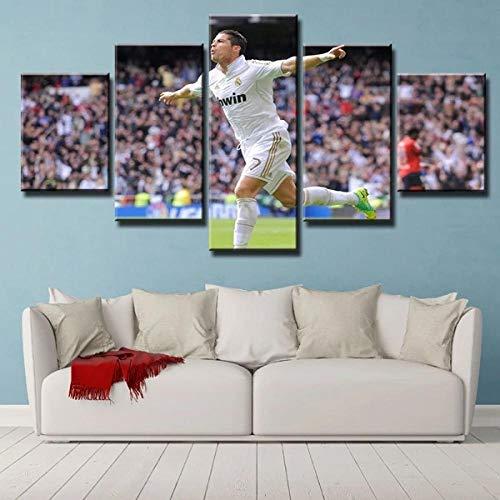 37Tdfc Kunstdrucke 5 Teilig/stück Leinwanddrucke Bilder Wandbild Leinwand XXL Format Fertig Zum Aufhängen Wandbilder Fußball Cristiano Ronaldo feiert Tore Für Wohnzimmer Wohnung Home Deko Geschenk