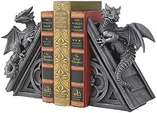 Design Toscano Castle Dragon Gothic Decor Decorative Bookend Statues, 8 Inch, Set of Two , Polyresin, Grey Stone