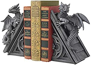 Design Toscano Castle Dragon Gothic Decor Decorative Bookend Statues, 8 Inch, Set of Two , Polyresin, Grey Stone