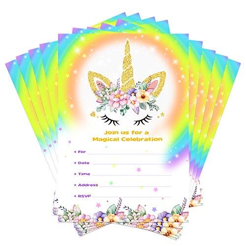 Aytai 20pcs Invitaciones de cumpleaños de Rainbow Unicorn con sobres y Thank You Stickers,...