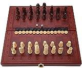 Ajedrez de madera Set de Viaje Conjunto de ajedrez de madera 3 en 1 Conjunto de cheques Conjunto de backgammon con estuche de transporte plegable para niños juego de mesa de mesa portátil Conjunto de